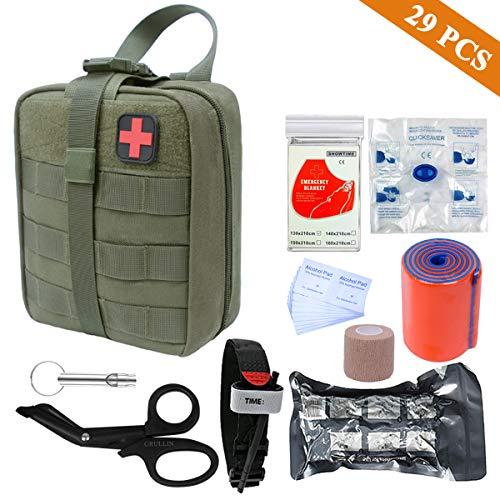GRULLIN Kit de Primeros Auxilios: Bolsa táctica, Torniquete, Barra de