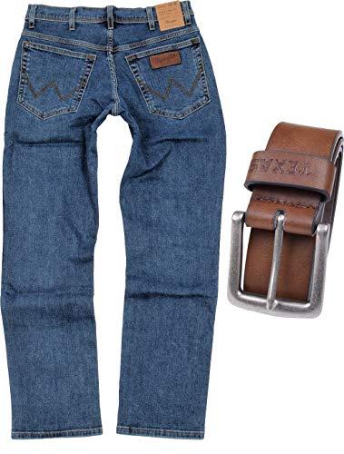 Wrangler Texas Stretch Herren Jeans Regular Fit inkl. Gürtel (W34/L32, Stonewash + brauner Gürtel) (Texas)