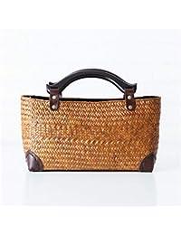 Eeayyygch Famoso Bolso para Mujeres Bolso de bambú con Cuerpo de Paja Bolsas de Mimbre Bordadas