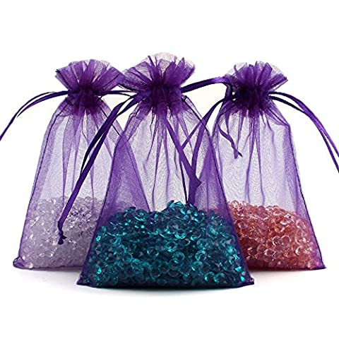 ECVILLA 100pcs Organza Bags 4 x 6 Inch Gift Bags Organza Drawstring Pouch Jewelry Party Wedding Favor Party Festival Gift Bags Candy Bags (Purple)