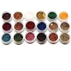 SKY Lovely !!! Polvo del polvo del brillo del arte del clavo de 18 colores para las extremidades de acrílico de la decoración del polvo del gel ULTRAVIOLETA