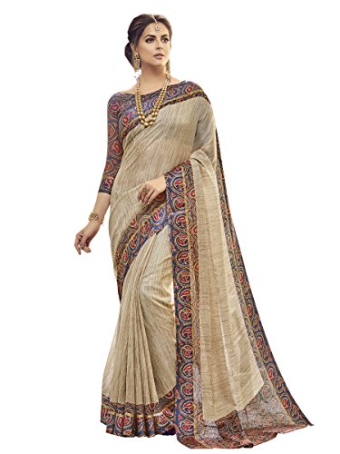 Shangrila Designer Women's Kora Silk Saree With Blouse Piece (Kots3-2337, Beige, Free...