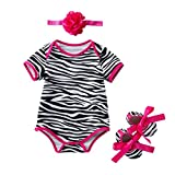 Homyl Babykleidung Sommer, Baby Mädchen Outfits Kleidung Overall + Stirnband + schuhe Set - Zebra, L für 12-24Monate