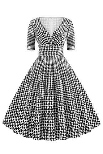 Axoe Damen 60er Jahre Hahnentritt Kleid Cocktailkleid Abendkleid mit 3/4 Ärmel Gr.36