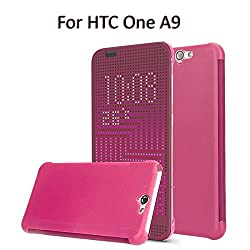 Heartly Dot View Touch Sensative Flip Thin Hard Shell Premium Bumper Back Case Cover For HTC One A9 - Metal Burgundy