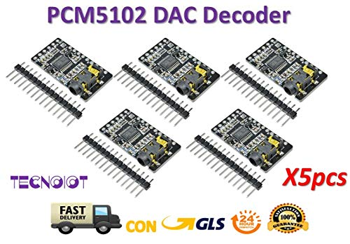 TECNOIOT 5pcs PCM5102 Decoder GY-PCM5102 I2S Interface Format Player Digital Audio PCM5102A Hdtv-starter-kit