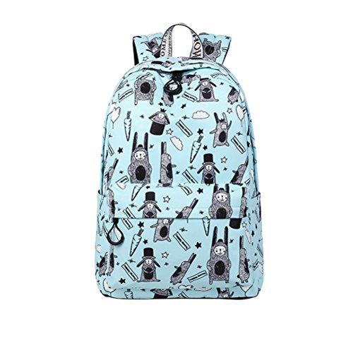 Preisvergleich Produktbild Winnerbag Cute wasserdichte Frauen Rucksäcke Cartoon Tier Drucken Dame College große Kapazität täglich Laptop Bookbags Sky Blue 15 Zoll