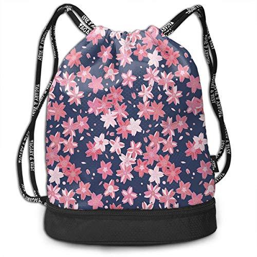 Cupsbags Flourishing Sakura Petals Basketball Drawstring Bag Backpack Bundle Backpack (Under Armour-make-up)
