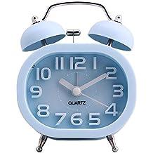 """3"""" Reloj Despertador de Doble Campana, COOJA Retro Alarma Despertador Analógico de Cuarzo Silencioso sin Tic Tac con Alarma Fuerte y Luz Nocturna, Azul"""