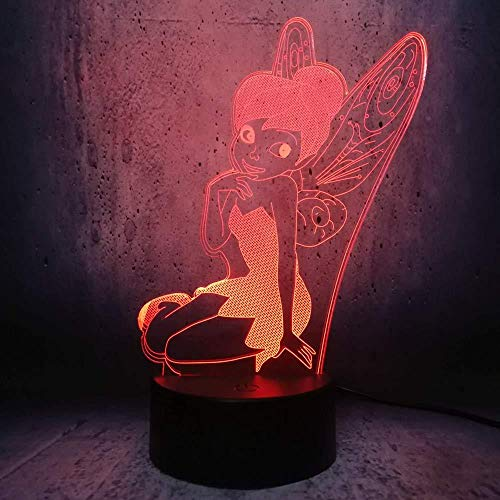 Hnfslz 3D Led Touch Fernbedienung Sensor Lampe Cartoon Anime Schöne Tinker Bell Girl Modell 7 Farbwechsel Nachtlicht -