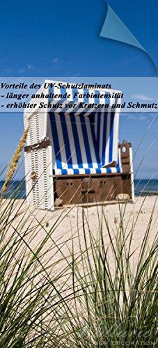 nde Türtapete mit Schutzlaminat, Motiv: Strandkorb - Größe: 93 x 205 cm in Premium-Qualität: Abwischbar, brillante Farben, rückstandsfrei zu entfernen (Urlaub Tür Dekorationen)