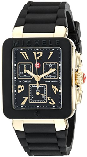 Michele Women's 33mm Black Silicone Band Steel Case Swiss Quartz Analog Watch MWW06L000015