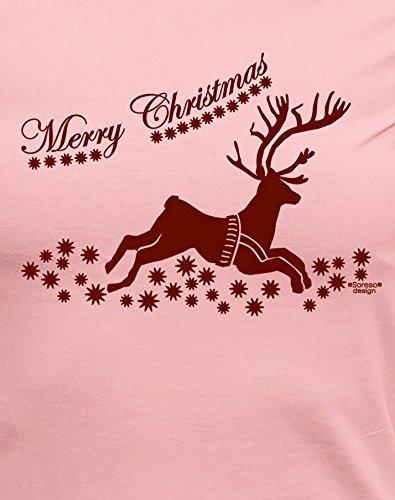 Weihnachts-Geschenke-Girlie-Fun-Tshirt für Damen mit Urkunde Motiv: Merry Christmas Renntier Farbe: rosa Rosa