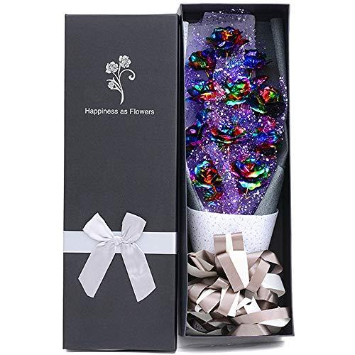 Yzibei Ewige Blume Valentinstag-Weihnachtsabend Geschenk 24K Goldfolie Rose Bouquet Muttertagsgeschenk Valentinstag Blumenstrauß (Farbe : 11 Colorful) (24k Rose Bouquet)