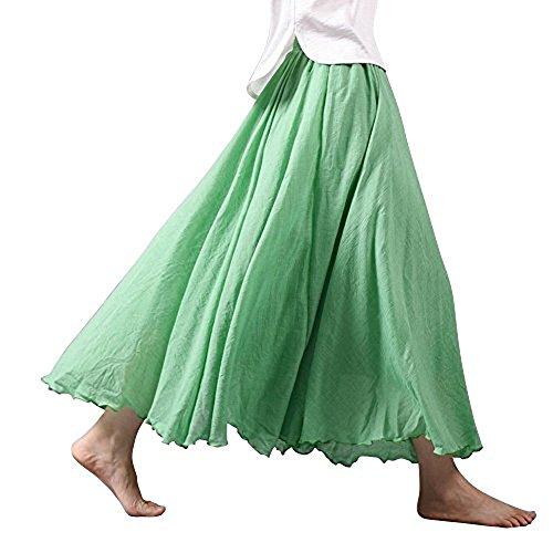 Tomwell Damen Frauen Baumwolle Leinen Double Layer Elastische Taille Langen Langer RockMaxi Rock Hohe Taille Langer Rock Grün 95CM -