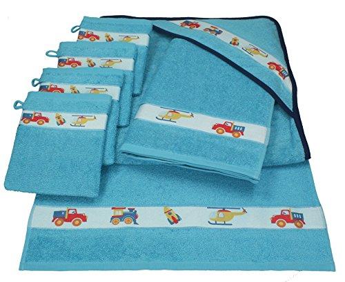Betz 7 tlg Handtuch Set Kinder Baby 1 Kapuzen Kinderbadetuch 2 Kinderhandtücher 4 Waschhandschuhe Baby Kapuzenhandtuch Kapuzenbadetuch Kapuzentuch 100% Baumwolle TEDDY Farbe blau