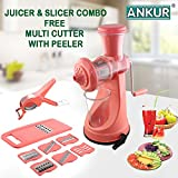 Ankur Kitchen Como - Fruit & Vegetable Juicer, 6 In 1 Slicer And Vegetable Cutter With Peeler, Pink
