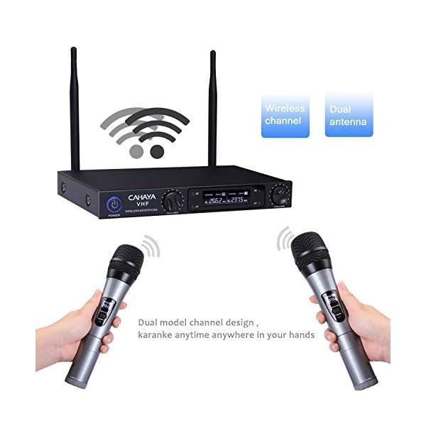 CAHAYA Microfono Senza Fili Set Microfono Sistema di Microfono Senza Fili a 2 Canali Intelligente Ideale per Registrazione del Conferenze, Karaoke ,Partito ecc