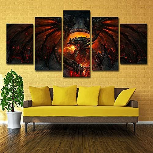 ZEMER Wandkunst Malerei Leinwanddrucke Drachen Deathwing Lava Wow Feuer World of Warcraft Filmplakat Bild Für Kinder Kinderzimmer Druck,A,25x38x2+25x50x2+25x63x1