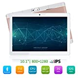 PADGENE 10 Zoll Android Tablet PC 2G RAM 32G Speicher 5MP Hinten & 2MP Frontkamera Dual-SIM Slots USB/SD IPS HD 1280x800 WiFi/3G/2G Entsperrt Bluetooth GPS Telefonfunktion(Rosig)