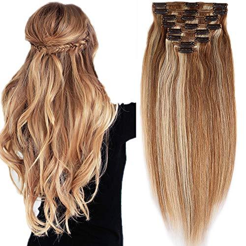 Extension clip capelli veri balayage 50cm double weft folti 8 fasce 100% remy human hair meches 150g con clips #12p613 marrone oro mix biondo chiarissimo