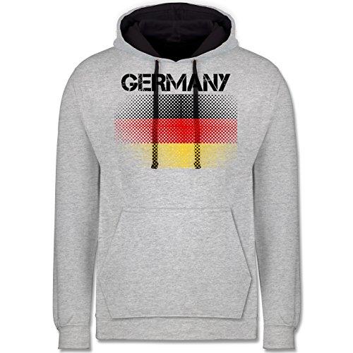 Fußball-WM 2018 - Russland - Germany Flagge - Kontrast Hoodie Grau meliert/Dunkelblau
