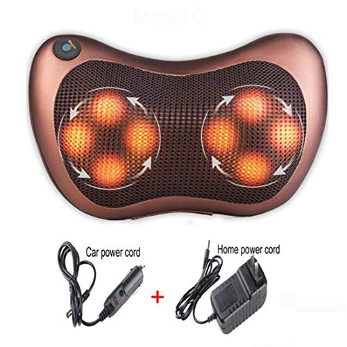 BBYQLY Naipo Shiatsu Massage Pillow Neck Massager with Infrared Heat Function Massage and 3D Rotating Massage Heads for Back Neck Shoulder in Car Office,8