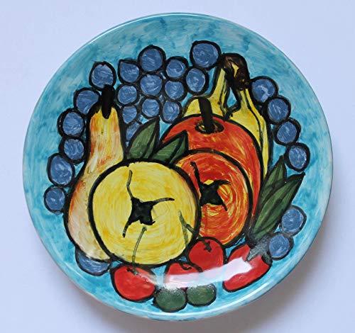 Obstteller-Keramikteller Hand dekoriert, Durchmesser cm 16,4,hoch cm 2,8,bereit, an der Wand zu hängen Hergestellt in Italien, in der Toskana, in Lucca Erstellt von Davide Pacini. -