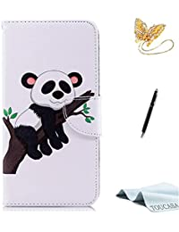 TOUCASA iPhone 6S Plus Handyhülle,iPhone 6 Plus Hülle, Brieftasche Flip PU Leder ledercaseHülle Kartenfächer Leinwand Farbmalerei Art füriPhone 6S Plus/iPhone 6 Plus-(Panda)+StylusPen