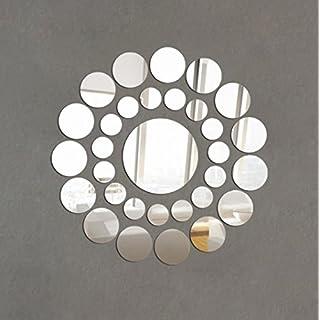 wandaufkleber wandtattoos Ronamick 31X Runde Spiegel Wandaufkleber Acryl Oberfläche Aufkleber Home Room DIY Art Decor (Silber)