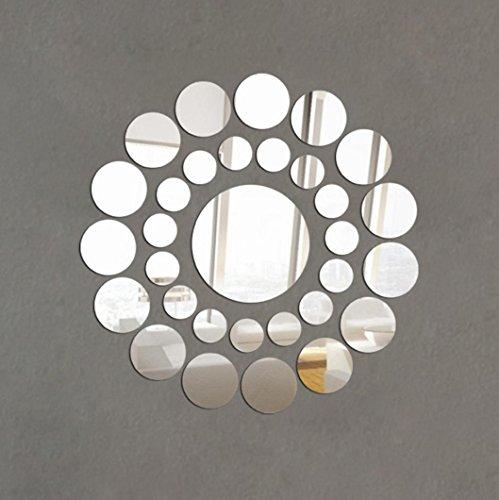wandaufkleber wandtattoos Ronamick 31X Runde Spiegel Wandaufkleber Acryl Oberfläche Aufkleber Home Room DIY Art Decor (Silber) - Kleinkind-mädchen-wand-spiegel