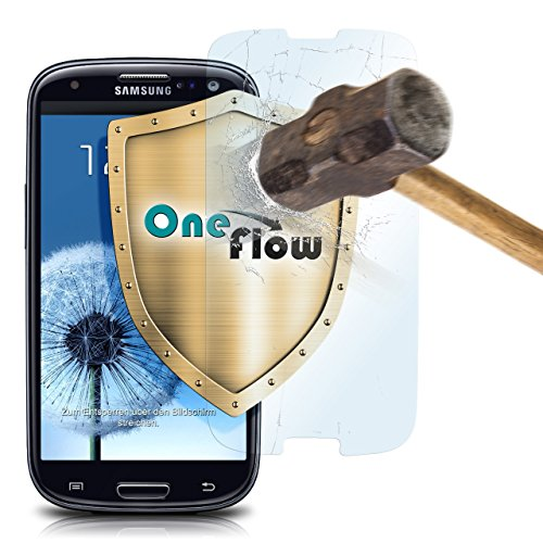 OneFlow 9H Panzerfolie für Samsung Galaxy S3 Panzerglas Display Glasfolie [Tempered Glass] Screen protector Glas Displayschutz-Folie für Samsung Galaxy S3 / S III Neo Schutzfolie - Display gewölbt, Folie bewusst kleiner Screen Protection Für Galaxy S3