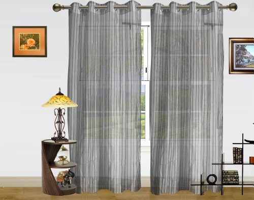 DEKOR WORLD Strip Sheer Silver Eyelet 2 Pcs Set(44