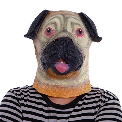 Anladia Shar-Pei Hunde-Maske Latex Gummi Kopfmaske Vollmaske Tiermaske Kostüm Kleid für Karneval Fasching
