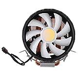 Diyeeni Raffreddatore CPU, Ventola Singola a 5 Colori Leggera da 12 cm per LGA775/1155/1156/1366, per AMD/AM2AM2 +/AM3, Ventola di dissipazione del Calore della CPU, radiatore Dorato