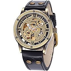 Alienwork Retro Automatic Watch Self-winding Skeleton Mechanical vintage Polyurethane bronze brown black W9397-01