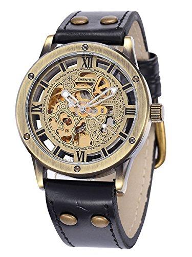 Alienwork Retro mechanische Automatik Armbanduhr Skelett Automatikuhr Uhr Herren Uhren vintage Design Polyurethan bronze braun schwarz W9397-01