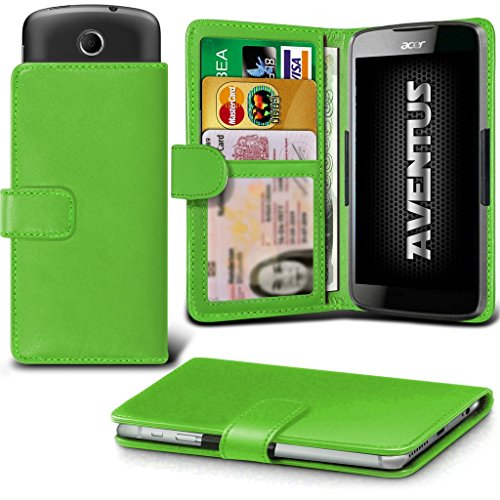 Aventus (Grüne) Acer Liquid Z320 Premium-PU-Leder Universal Hülle Spring Clamp-Mappen-Kasten mit Kamera Slide, Karten-Slot-Halter und Banknoten Taschen