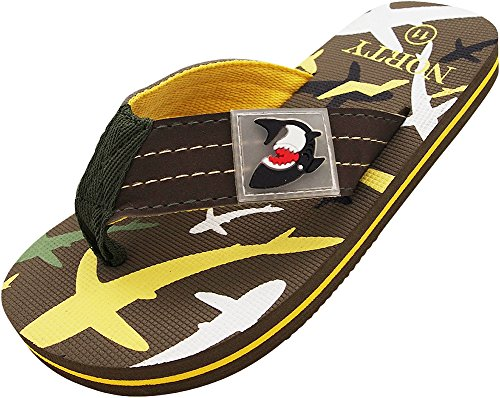 NORTY Boys Shark Print Flip Flop Thong Sandal Perfect for The Beach, Pool Or Everyday