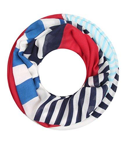 Majea super weicher Damen Loop Schal viele Farben Muster Schlauchschal Halstuch in aktuellen Trendfarben (rot 27)