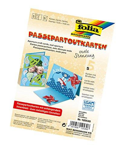 Folia 120530 - Passepartouts, mit ovaler Stanzung, ca. 10,5 x 15 cm, 5 Karten (220 g/qm) und...