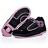 Enfants Adultes Chaussures À roulettes Garçons Filles Sneakers avec Roues Automatique Chaussures de Patinage Chaussure Un Roues - Rose - Taille 34 EU