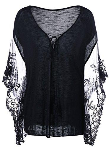 Brinny Damen Sexy V-Ausschnitt Shirt Spitze Kurzarm T-Shirt Top Bluse Tunika Casual Fledermaus Ärmel Falten Loose Fit Schwarz