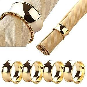 Yalulu 6 Stück Stahl Serviettenringe Servietten Halter Banquet Serviette Ring Dinner Hochzeits Hotel Weihnachten Dekoration Tischdeko (Gold)