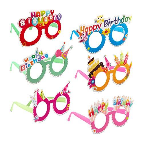 Relaxdays 10024250 Partybrillen Happy Birthday, 6er-Set, Lustige Spaßbrillen für Geburtstag, Scherzbrillen für Groß & Klein, bunt, Unisex-Kinder