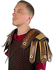 1par Romano hombro tanque de piel LARP piel Protector para Hombro marrón Fantasy Cosplay Medieval Vikingo