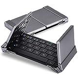 MoKo Aluminium Faltbar Wireless Bluetooth 3.0 Tastatur Qwerty-Layout Keyboard mit eingebautem Li-Polymer-Akku im Ultra Slim Tragbaren Design für PC,Tablet,Smartphone,IOS,Android,Windows,Schwarz