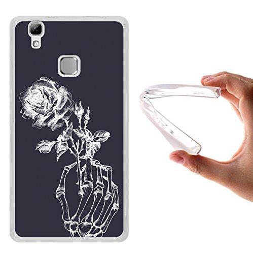 Doogee X5 Max Pro Hülle, WoowCase Handyhülle Silikon für [ Doogee X5 Max Pro ] Skeletthand und Rose Handytasche Handy Cover Case Schutzhülle Flexible TPU - Transparent