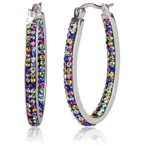 Carly Creations Women's Silver Plated Genuine Crystal MultiColored Hoop Earring by Carly Creations
