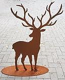 HIRSCH MIT GROSSEM GEWEIH 1m hoch Rost Edelrost Tier Rostfigur Metall Tier + Original Pflegeanleitung von Steinfigurenwelt